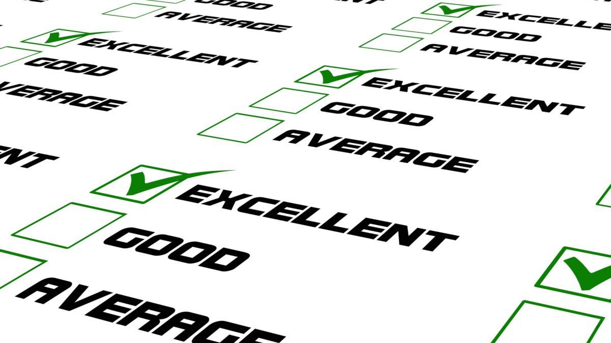 La imagen muestra unos items para evaluar entre excelente, bien, promedio