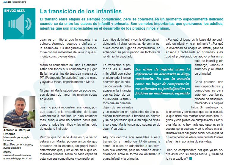 fotografía del artículo de la revista