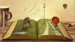 libro abierto con una historia que sale de las páginas