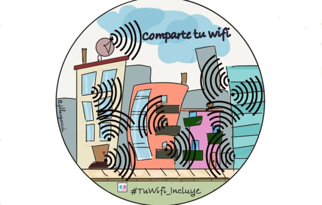 la imagen muestra una zona residencial con las ondas wifis por todas partes