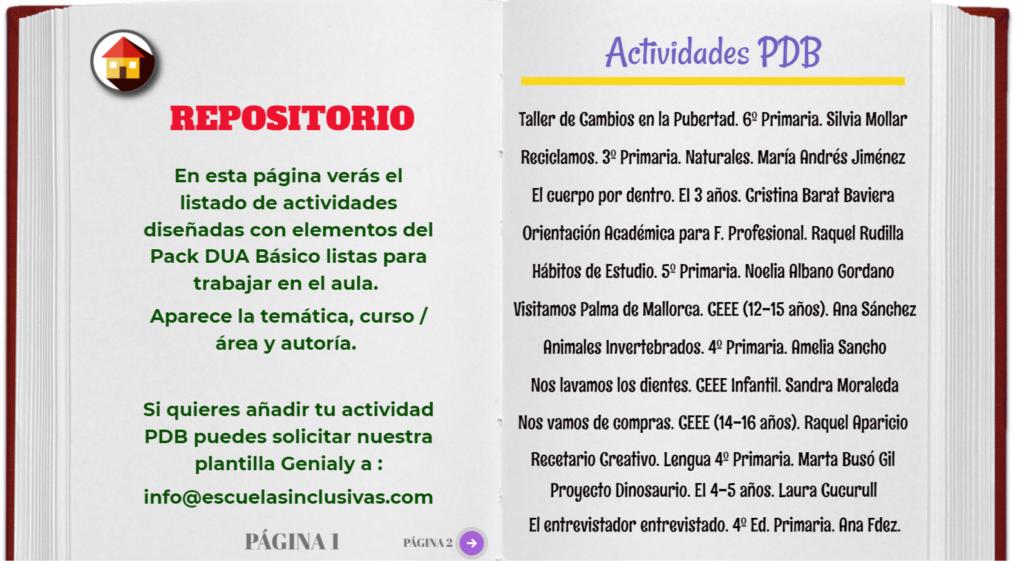 la imagen muestra la página inicial del repositorio de actividades PDB