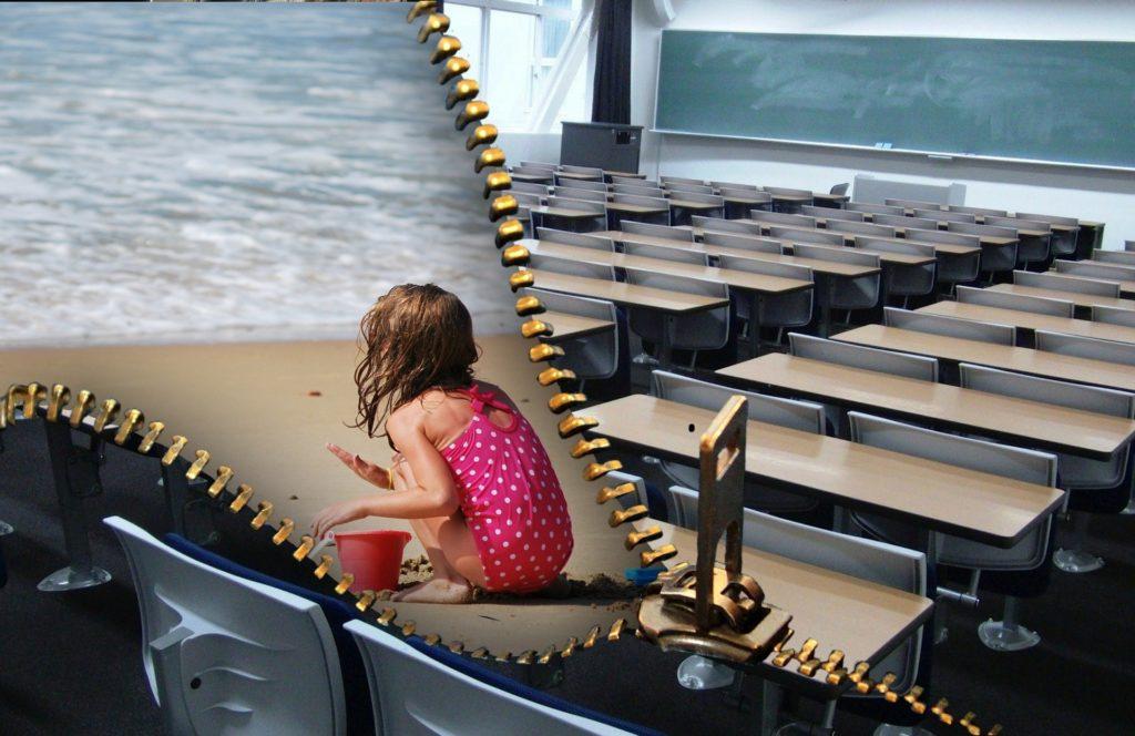 imagen dividida por una cremallera que se abre, en la parte abierta una niña en la playa, en la cerrada un aula vacía
